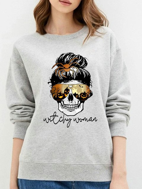 Skull Long Sleeve Cotton-Blend Sweatshirt