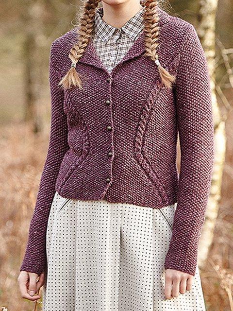 Purple Shawl Collar Acrylic Casual Sweater