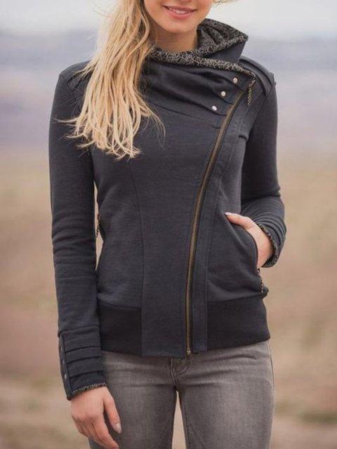 Black Long Sleeve Cotton Zipper Hoodie Sweatshirt