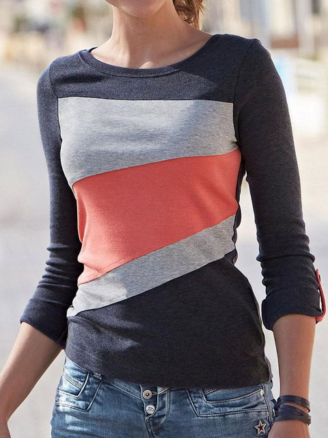 Color-block Collage long sleeve loose women's T-shirt