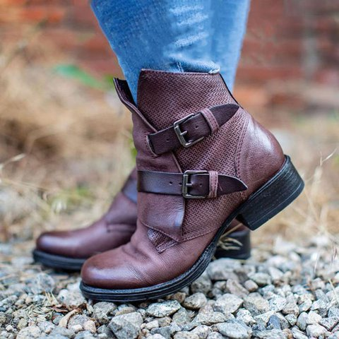 Artificial Leather Buckle Low Heel Boots