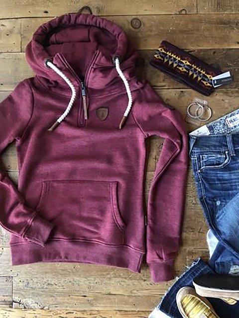Wine Red Hoodie Zipper Long Sleeve Sweatshirt
