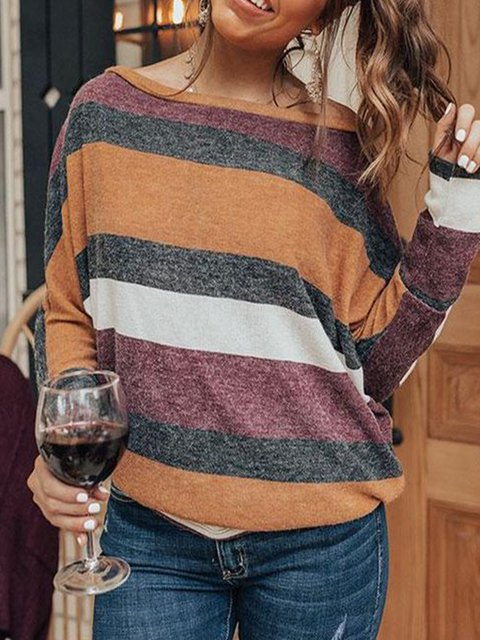Red Color-Block Long Sleeve Shirts & Tops