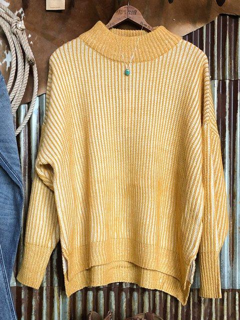 Yellow Acrylic Crew Neck Long Sleeve Sweater