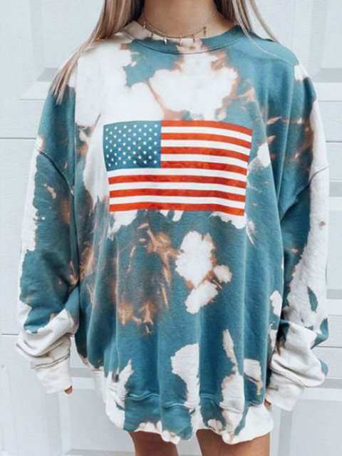 As Picture Crew Neck Printed Cotton-Blend Long Sleeve Sweatshirt