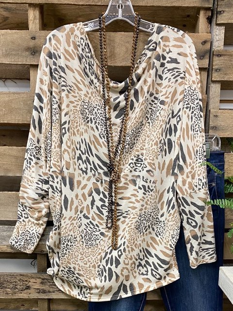 Apricot Long Sleeve Cotton-Blend Animal Shirts & Tops