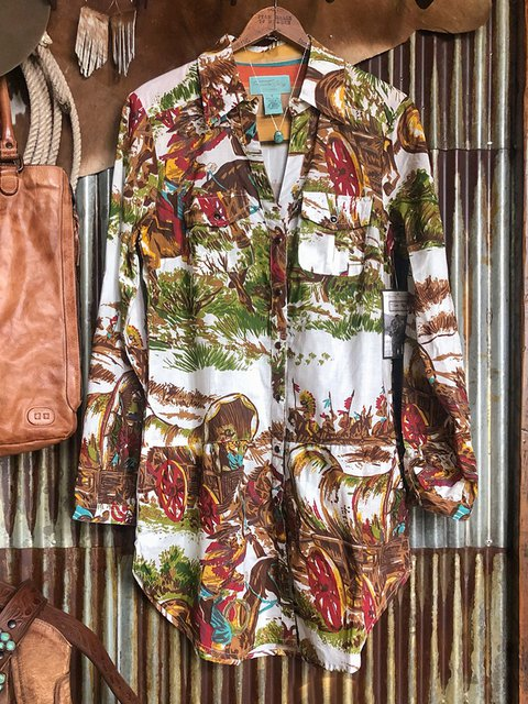 Multicolor Cotton-Blend Casual Printed/dyed Shirts & Tops