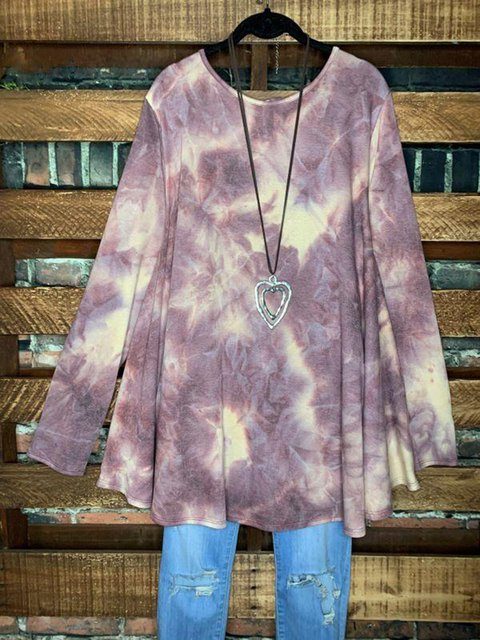 Purple Crew Neck Casual Ombre/tie-Dye Long Sleeve Shirts & Tops