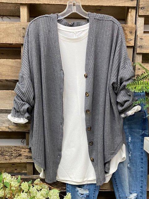 Gray Cotton-Blend Long Sleeve Outerwear