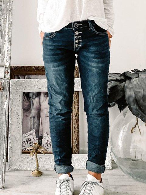 Deep Blue Buttoned Casual Denim Pants