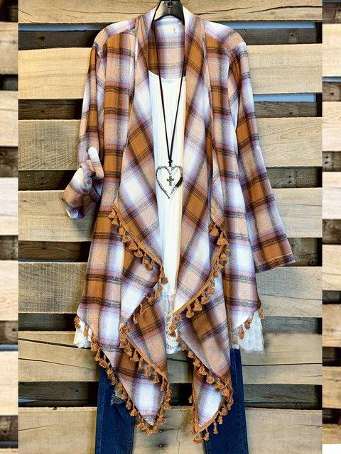 Coffee Cotton-Blend Long Sleeve Shift Outerwear