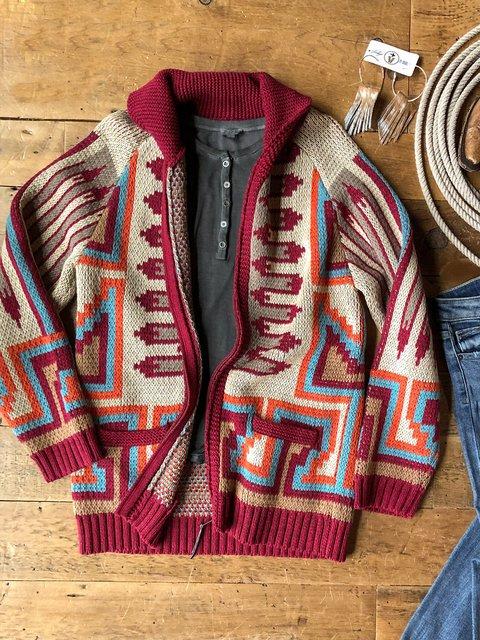Multicolor Tribal Long Sleeve Outerwear
