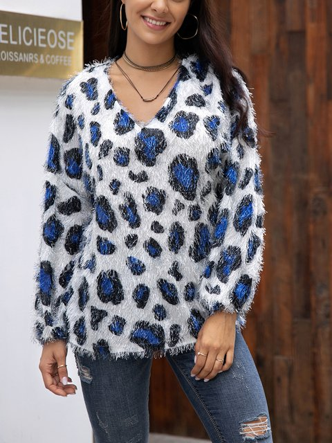 White Casual Leopard Cotton-Blend Shirts & Tops