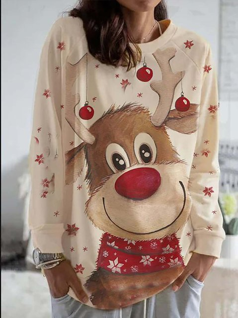 Christmas Animal Print Long Sleeve Loose T-shirt