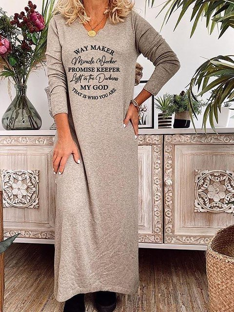 V-neck Letter Printed Long Sleeve Casual Dress