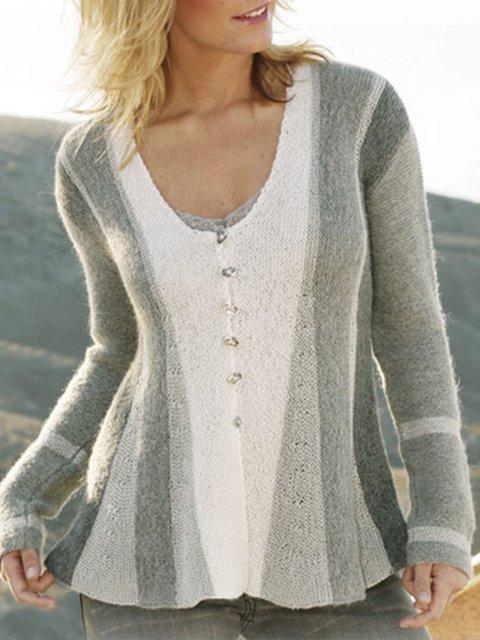 Gray Vintage Long Sleeve Scoop Neckline A-Line Sweater coat