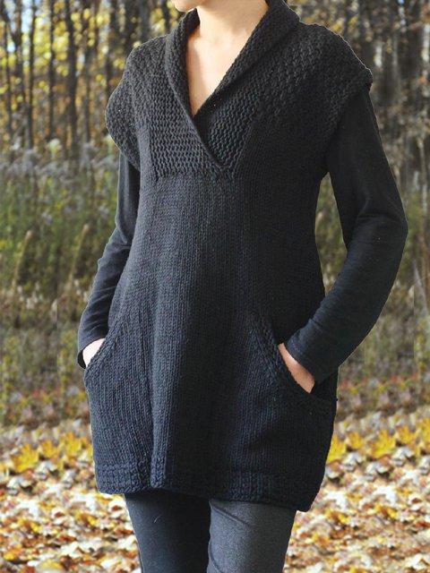 Black Short Sleeve Vintage Pockets Sweater