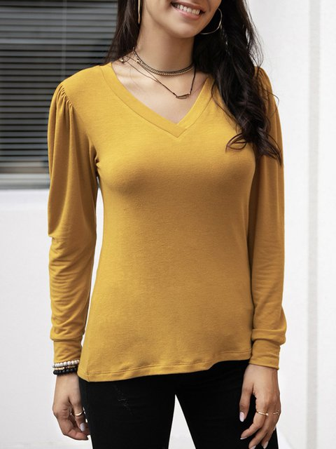 Yellow V Neck Long Sleeve Cotton-Blend Plain Shirts & Tops