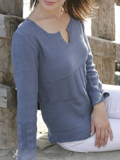Blue A-Line Jacquard Long Sleeve Sweater