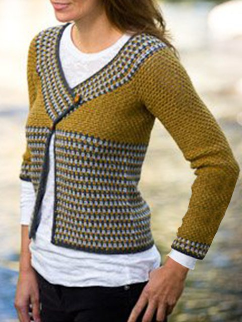 Yellow Long Sleeve Jacquard Shift Sweater coat