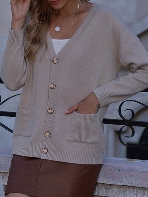 Apricot Long Sleeve Cotton-Blend Shift Sweater