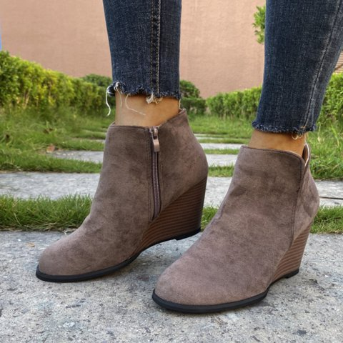 Wedge Heel Daily Leather Boots