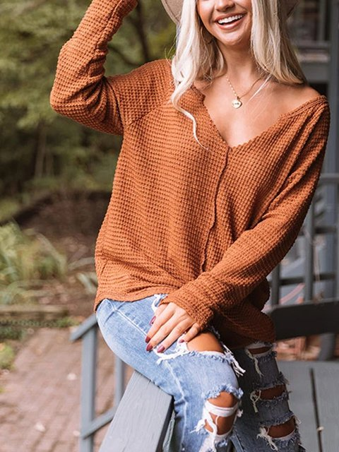 Retro casual solid color warm sweater top