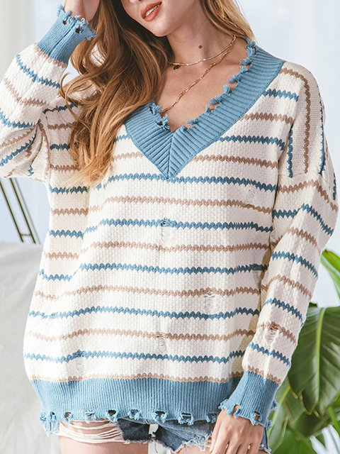 White Long Sleeve Casual Stripes Sweater