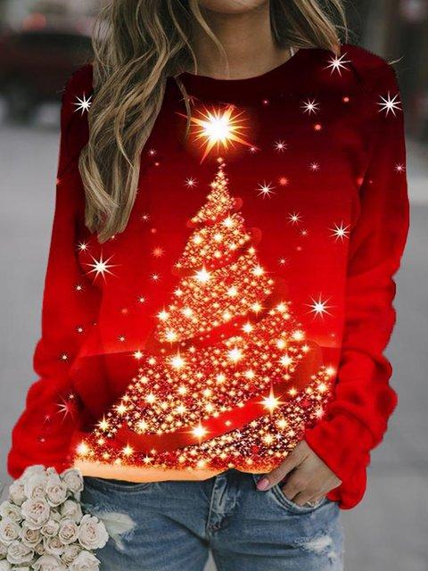 Ladies Christmas Red Crew Neck Cotton-Blend Casual Sweatshirt