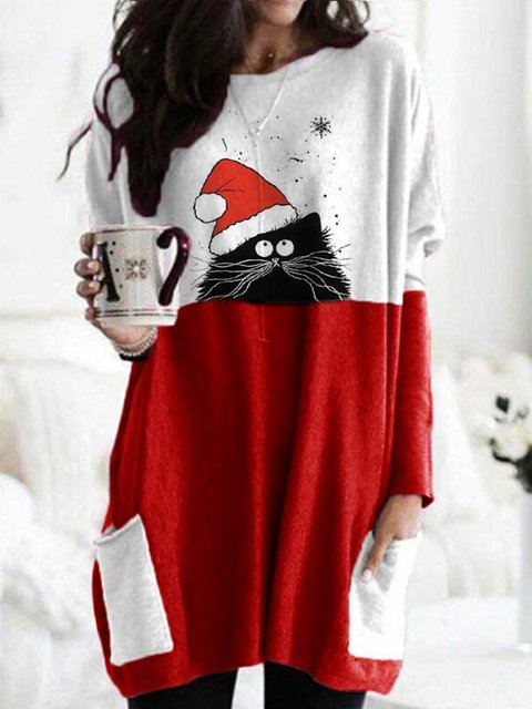 Christmas Red Long Sleeve Casual Printed Shirts & Tops