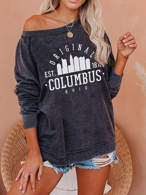 Columbus Print Round Neck Casual Sweatshirt