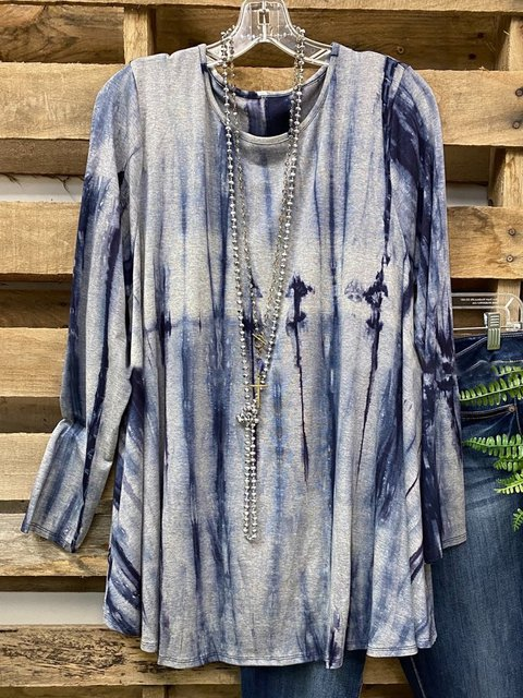 Blue Long Sleeve Ombre/tie-Dye Casual Shirts & Tops
