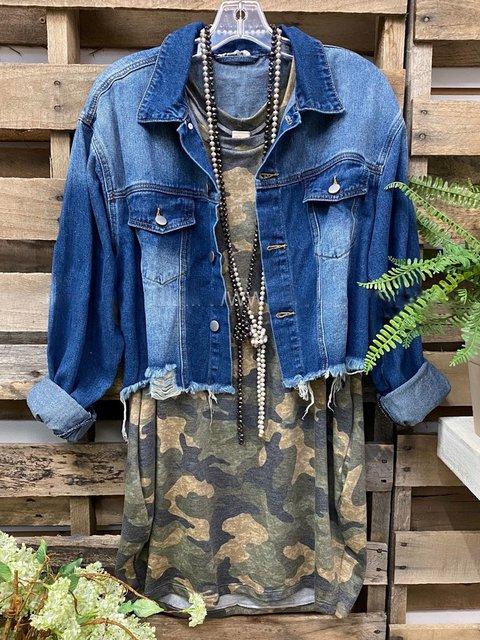 Blue Casual Denim Shirt Collar Outerwear