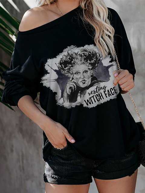 Halloween Testing Witch Face Print Comfy Pullover Tops