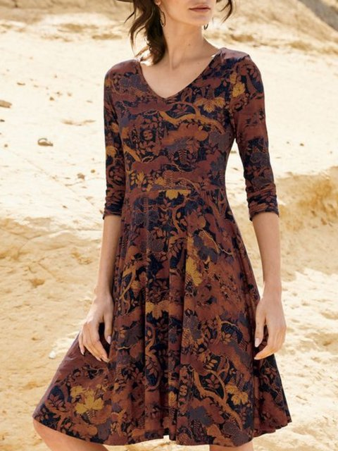 Multicolor 3/4 Sleeve Printed Casual V Neck Dresses