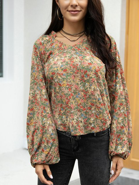 Coffee Casual Floral Crew Neck Cotton-Blend Shirts & Tops