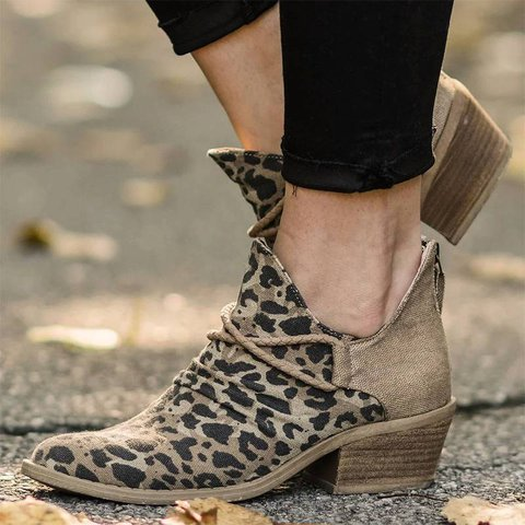 Leopard Canvas Fall Boots