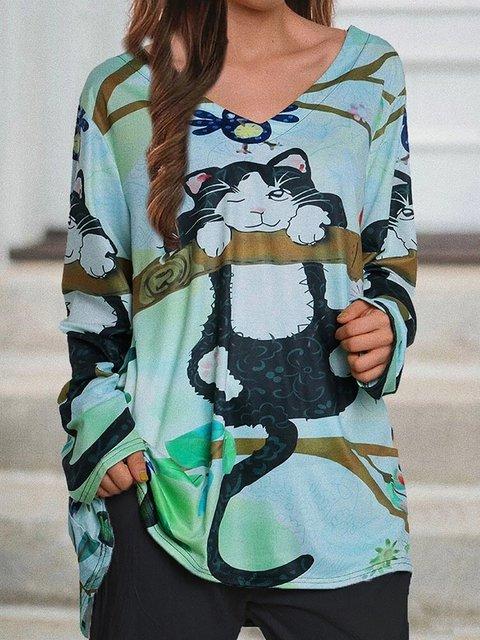 Cartoon Cat Print V-neck Long Sleeve Blouse
