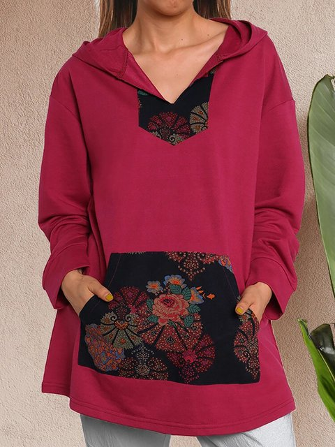 Vintage Floral Print Hooded Sweatshirt With Big Pocket