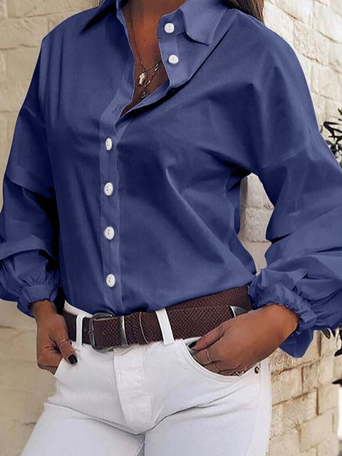 Solid Color Pleated Lantern Sleeve Casual Blouse