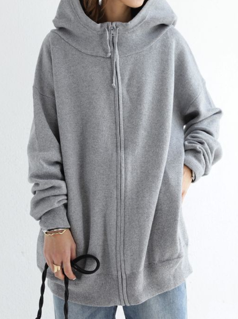 Plus size Casual Long Sleeve Hoodie Outerwear