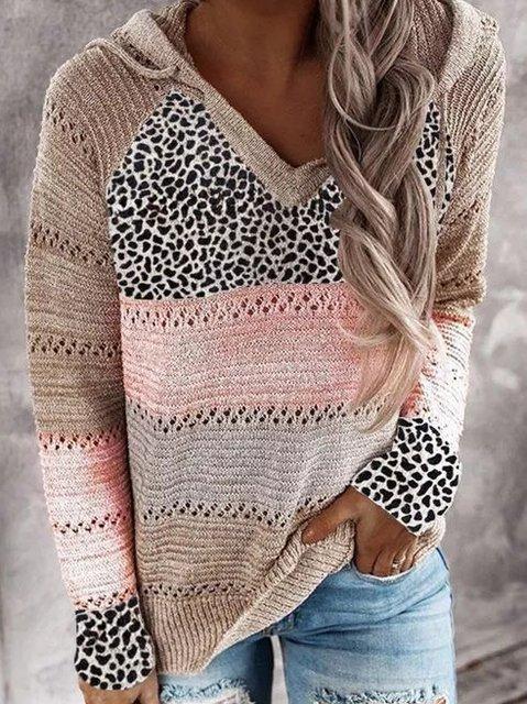 Long Sleeve V Neck Cotton-Blend Leopard Sweater