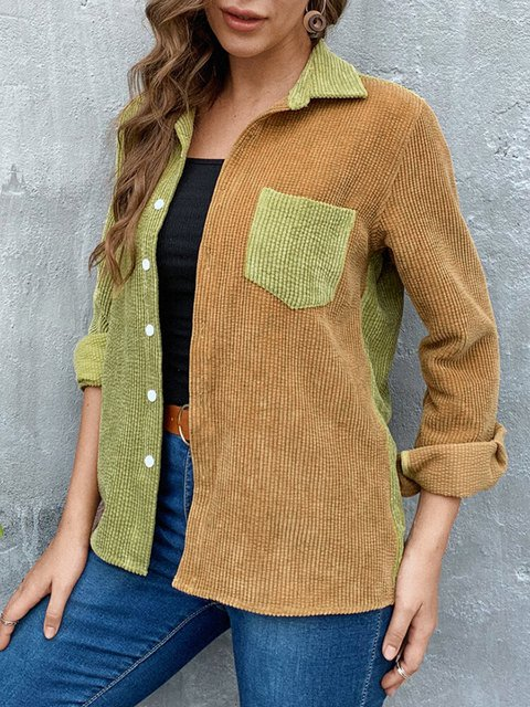 Corduroy Contrast Color Long Sleeve Casual Shirt