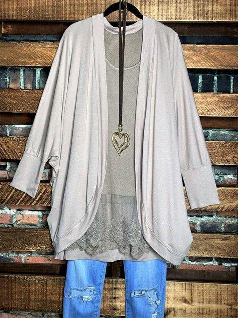 Gray Casual Plain Outerwear