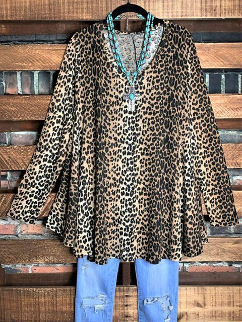 Multicolor Long Sleeve Leopard Shirts & Tops