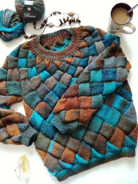 Sweater knitted ,Knit sweater women's , Jumper , Hand knit sweater , Wool jumper, Rainbow oversized sweater , Boho sweater cardigan Entrelac