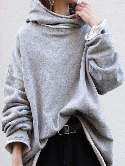 Gray Cotton Casual Sweatshirt