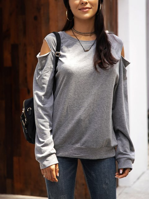 Gray Long Sleeve Crew Neck Plain Shirts & Tops