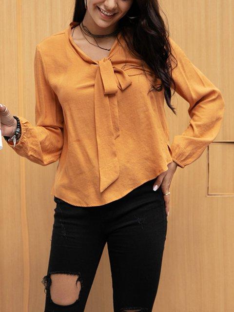 Yellow Long Sleeve Cotton-Blend Shirts & Tops