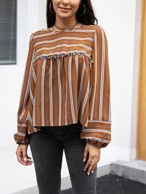 Brown Casual Paneled Shirts & Tops